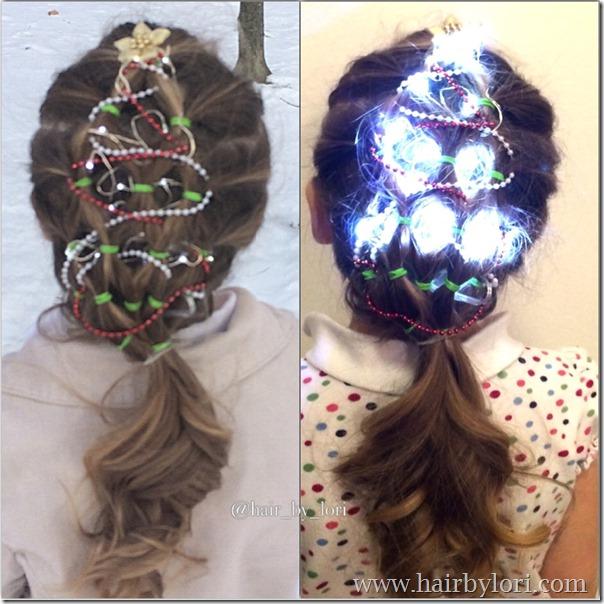 coiffure sapin petite fille décorée