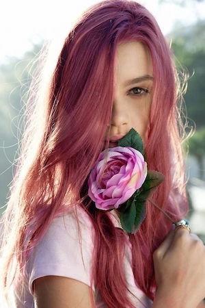 Couleur rose sur cheveux chatain