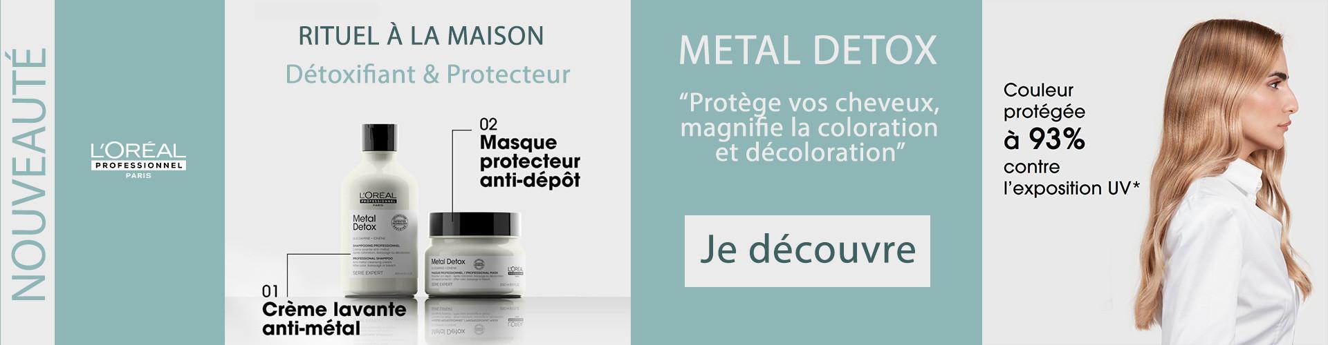 pour cheveux colorés ou décolorés, anti metal metal detox l'oréal professionnel